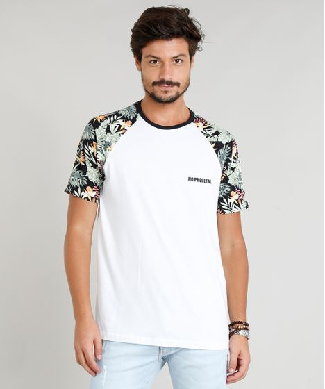 080114eb05f9b Camiseta Masculina Manga Curta Raglan Estampada Gola Careca Branca - cea