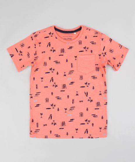 Camiseta-Infantil-Estampada-Surf-com-Bolso-e-Manga-Curta-Coral-9361195-Coral_1