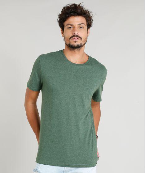 9a671ae3d Camiseta Masculina Básica Manga Curta Gola Careca Verde Escuro - cea