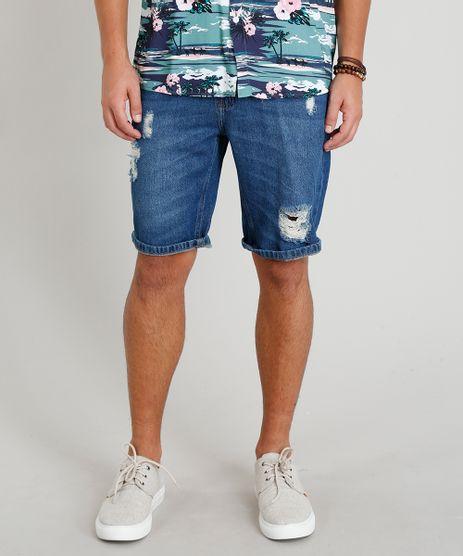 Bermuda-Jeans-Masculina-Reta-Destroyed-Azul-Escuro-9335140-Azul_Escuro_1