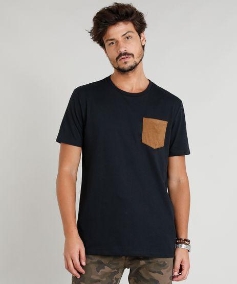 Camiseta-Masculina-com-Bolso-em-Suede-Manga-Curta-Gola-Careca-Preta-9295130-Preto_1