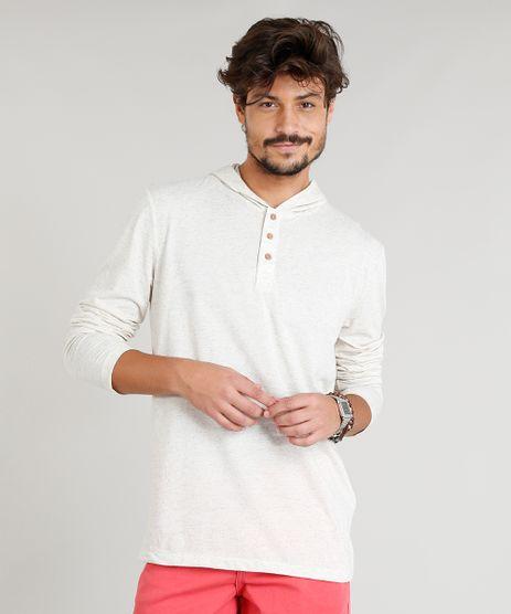 Camiseta-Masculina-em-Linho-com-Botoes-e-Capuz-Manga-Longa-Bege-Claro-9248983-Bege_Claro_1