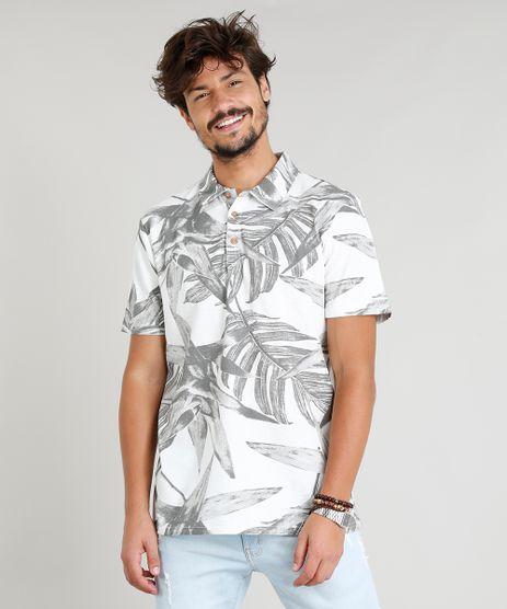 Polo-Masculina-em-Piquet-Estampada-Tropical-Manga-Curta-Off-White-9268550-Off_White_1