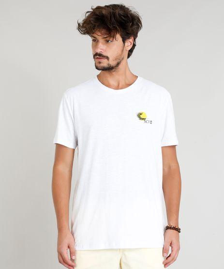 Camiseta-Masculina-com-Estampa-de-Folha-Manga-Curta-Gola-Careca-Branca-9331530-Branco_1
