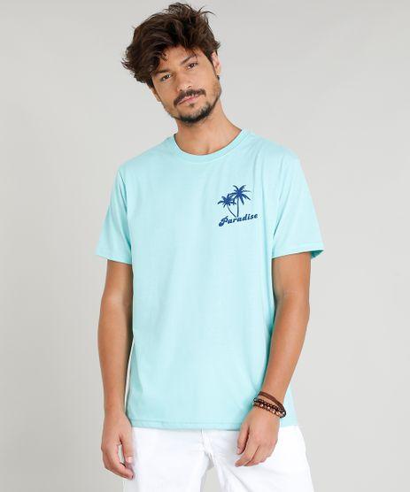 Camiseta-Masculina--Paradise--Manga-Curta-Gola-Careca-Verde-Agua-9349990-Verde_Agua_1