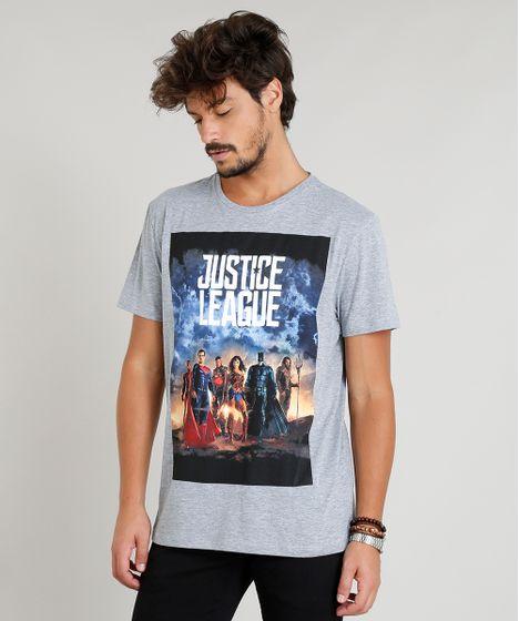 ac7428dce Camiseta Masculina Liga da Justiça Manga Curta Gola Careca Cinza ...