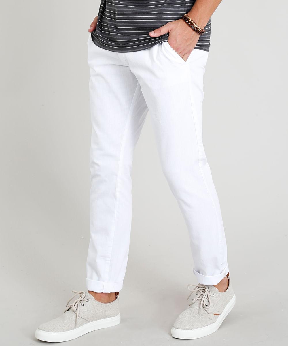 54c69165683b1e Calça Slim Masculina com Bolsos e Cordão de Amarração Branca - cea