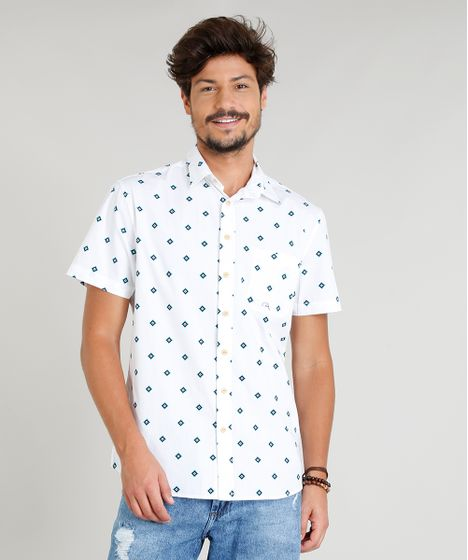 Camisa Masculina Estampada Étnica Manga Curta Gola Esporte Branca - cea 44eb9576e04