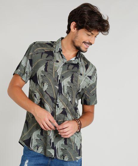 Camisa-Masculina-Estampada-Tropical-Manga-Curta-Gola-Esporte-Preta-9348255-Preto_1