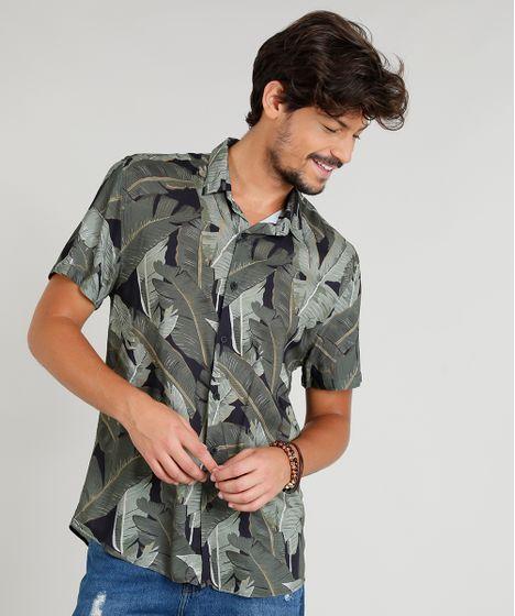 Camisa Masculina Estampada Tropical Manga Curta Gola Esporte Preta - cea bccc0545b35