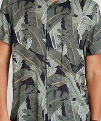 Camisa Masculina Estampada Tropical Manga Curta Gola Esporte Preta ... dc094124ee9