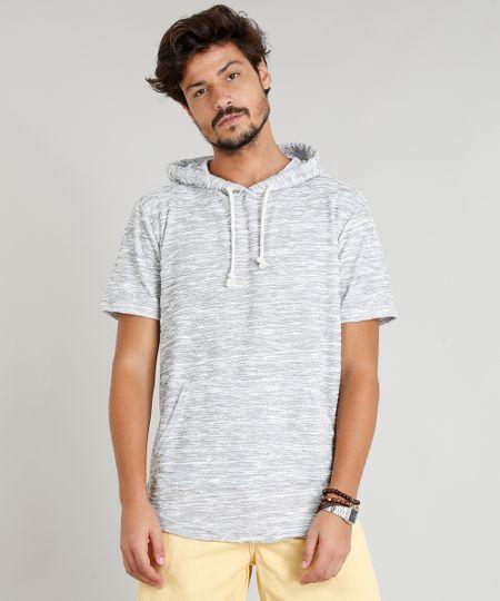 Camiseta Masculina com Capuz e Bolso Canguru Manga Curta Cinza Mescla - cea