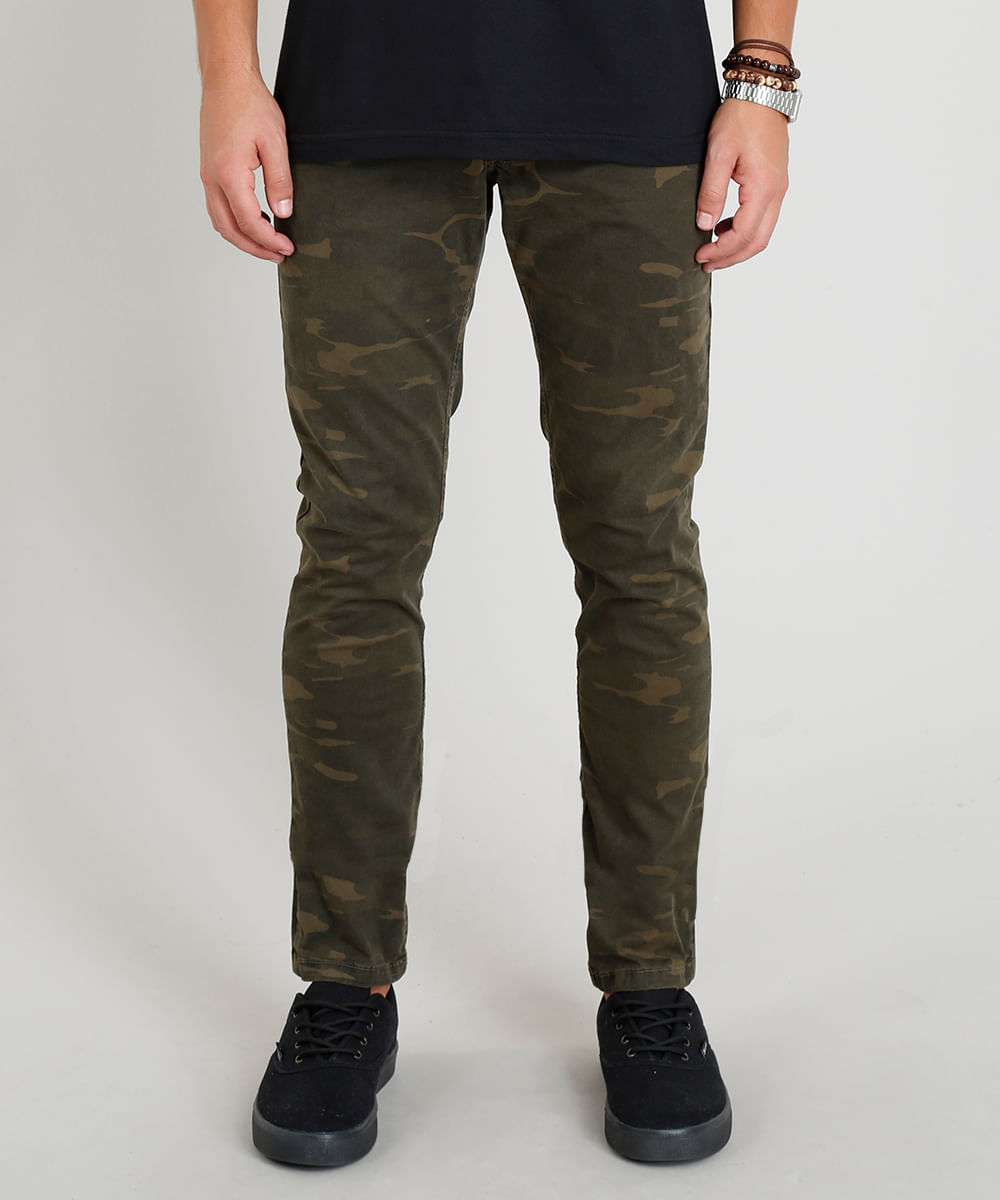 e4456a3ec Calça de Sarja Masculina Slim Estampada Camuflada Verde Militar - cea