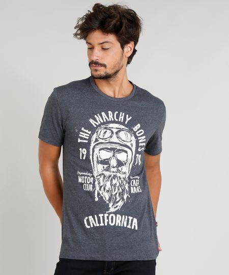 19335e5ae Menor preço em Camiseta Masculina com Estampa de Caveira Manga Curta Gola  Careca Cinza Mescla Escuro