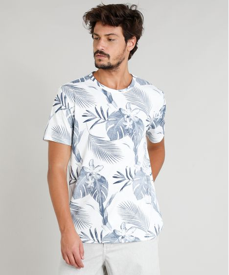 e9a26dbbc1594 Camiseta Masculina Estampada Tropical Manga Curta Gola Careca Off ...