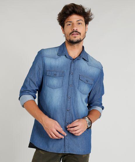 Camisa-Jeans-Masculina-com-Recortes-Manga-Longa-Gola-Esporte-Azul-Medio-8823645-Azul_Medio_1