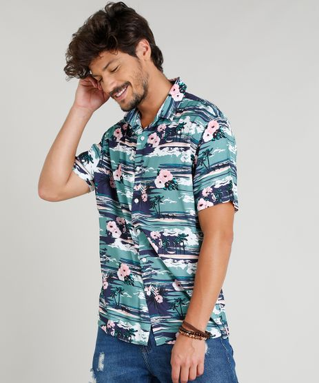 Camisa-Masculina-Estampada-Tropical-Manga-Curta-Gola-Esporte-Azul-Escuro-9349996-Azul_Escuro_1