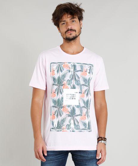 Camiseta-Masculina-com-Estampa-de-Flamingo-Manga-Curta-Gola-Careca-Rosa-Claro-9317557-Rosa_Claro_1