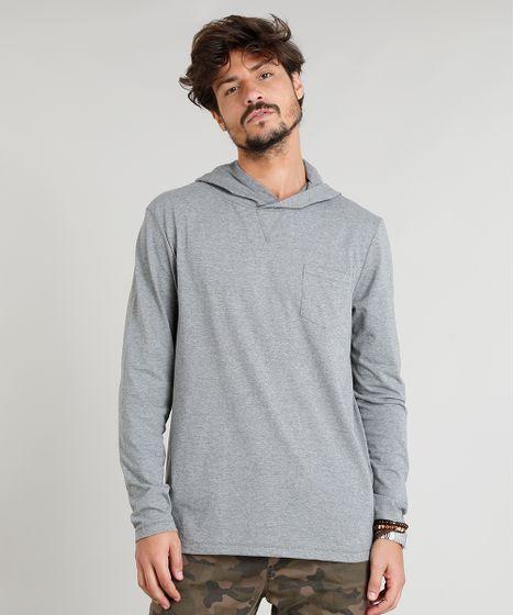 Camiseta Masculina Flamê com Capuz e Bolso Manga Longa Cinza Mescla ... 11a5fe49917