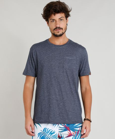 Camiseta-Masculina-Mescla-com-Bolso-Manga-Curta-Gola-Careca-Azul-Marinho-9313578-Azul_Marinho_1