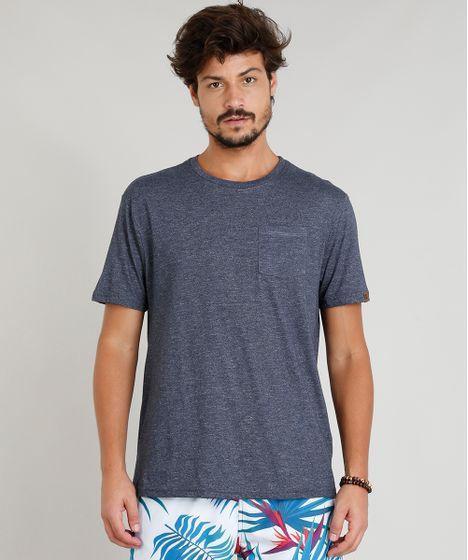 Camiseta Masculina Mescla com Bolso Manga Curta Gola Careca Azul ... 4fa48ddf7eae5
