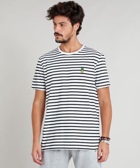 Camiseta-Masculina-Estampada-Listrada-Abacaxi-Manga-Curta-Branca-9295133-Branco_1
