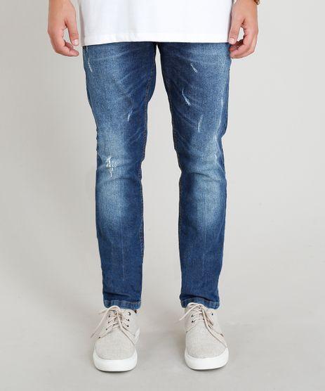 Calca-Jeans-Masculina-Skinny-com-Puidos-Azul-Escuro-9373093-Azul_Escuro_1