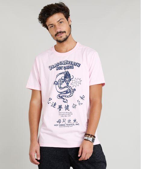 7ec432f21b4c Camiseta Masculina com Estampa de Dragão Manga Curta Gola Careca ...