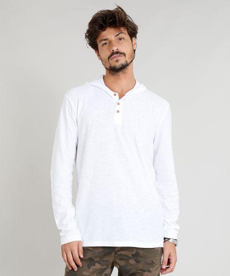 043f0fae8d0 Menor preço em Camiseta Masculina Flamê com Botões e Capuz Manga Longa  Branca