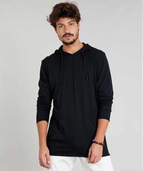 c2a47ea03a Camiseta Masculina Flamê com Capuz e Bolso Manga Longa Preta - cea