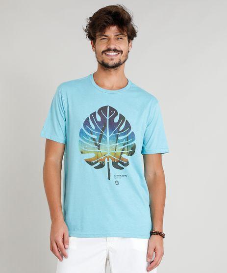 Camiseta-Masculina-com-Estampa-de-Folha-Manga-Curta-Gola-Careca-Azul-Claro-9306217-Azul_Claro_1