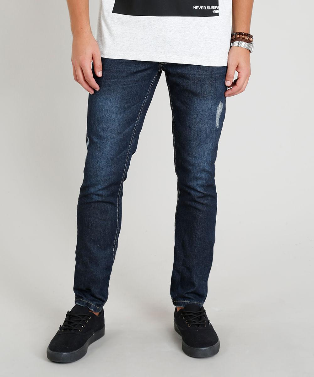 Calça Jeans Masculina Skinny com Puídos Azul Escuro - cea 87a0dc8c7f2