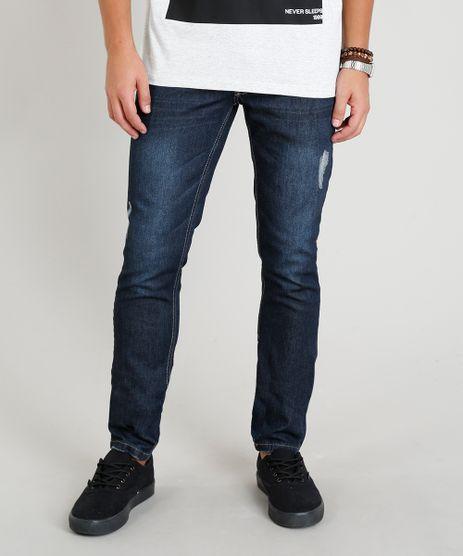 Calca-Jeans-Masculina-Skinny-com-Puidos-Azul-Escuro-9373092-Azul_Escuro_1