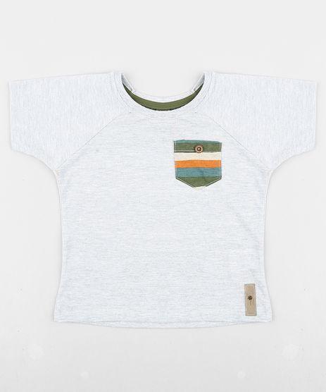 Camiseta-Infantil-Agua-de-Coco-Tal-Pai-Tal-Filho-com-Bolso-Listrado-Manga-Curta-Gola-Careca-Cinza-Mescla-9343833-Cinza_Mescla_1
