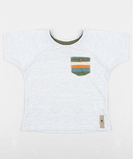 fff8f677b4698a Camiseta Infantil Água de Coco Tal Pai Tal Filho com Bolso Listrado Manga  Curta Gola Careca Cinza Mescla