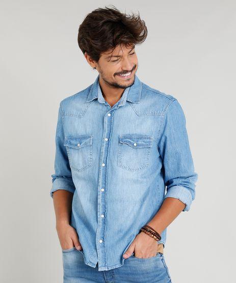 f748a59a56 Camisa-Jeans-Masculina-com-Recortes-Manga-Longa-Gola-