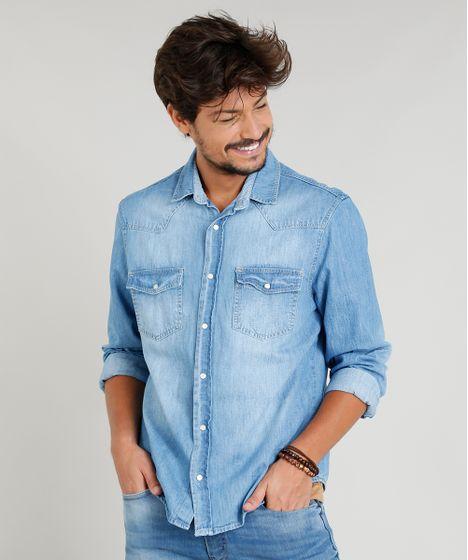 2de0cc0dde Camisa Jeans Masculina com Recortes Manga Longa Gola Esporte Azul ...