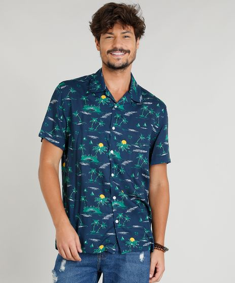 6da7148b61 Camisa-Masculina-Estampada-Tropical-Manga-Curta-Gola-Esporte-