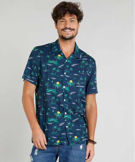 Camisa-Masculina-Estampada-Tropical-Manga-Curta-Gola-Esporte-Azul-Marinho-9348256-Azul_Marinho_1
