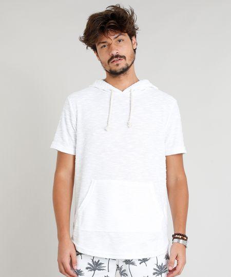 Camiseta Masculina com Capuz e Bolso Canguru Manga Curta Off White - cea