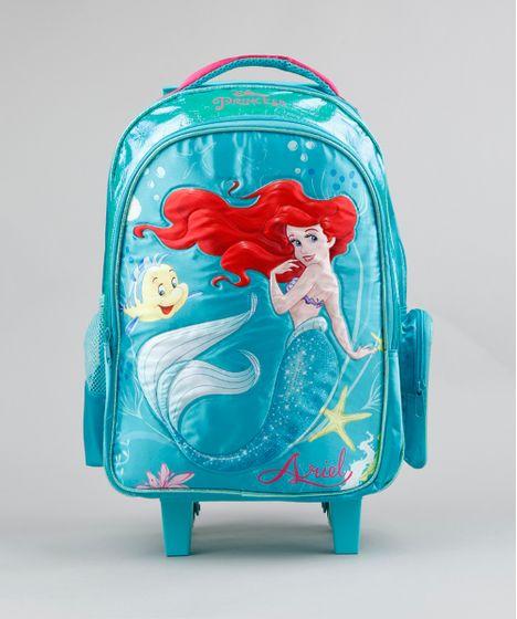 5f56f87b2 Mochila Escolar Infantil com Rodinhas Pequena Sereia Ariel Verde ...