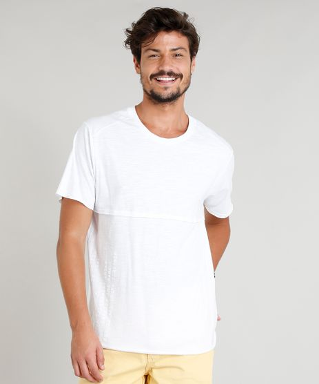 Camiseta-Masculina-com-Recorte-Manga-Curta-Gola-Careca-Branca-9314845-Branco_1