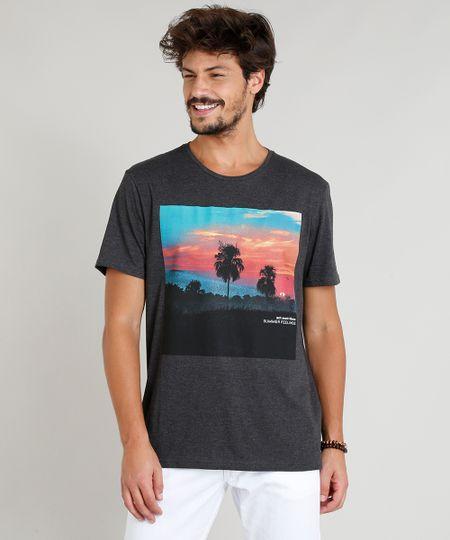 e9cdbf257 Menor preço em Camiseta Masculina com Estampa de Paisagem Manga Curta Gola  Careca Cinza Mescla Escuro