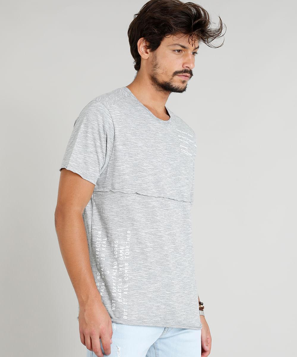 e51ca9bf76 Camiseta Masculina com Recorte Manga Curta Gola Careca Cinza Mescla ...
