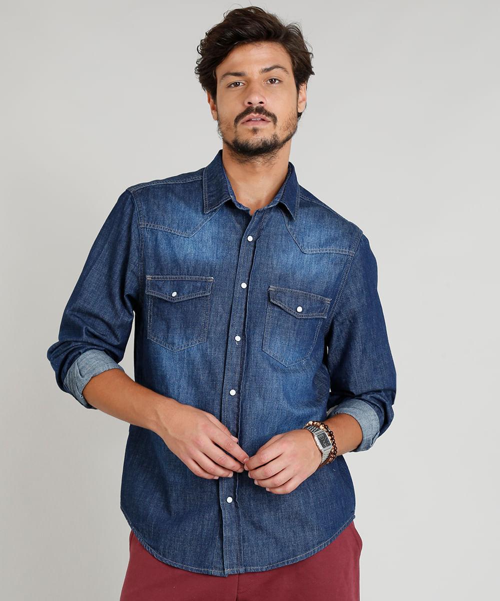 ebf45cc99373f Camisa Jeans Masculina com Recortes Manga Longa Gola Esporte Azul ...