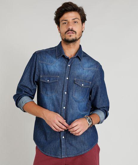 Camisa-Jeans-Masculina-com-Recortes-Manga-Longa-Gola-Esporte-Azul-Escuro-9308414-Azul_Escuro_1