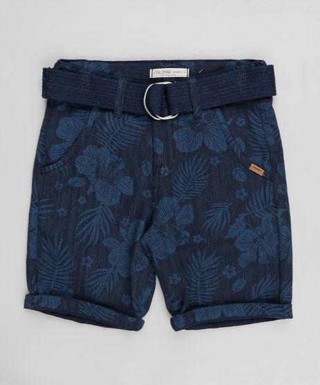 Bermuda-Infantil-Estampada-Tropical-com-Cinto-de-Lona-Azul-Marinho-9313620-Azul_Marinho_1