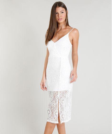 a87c7f356f Vestido Midi Feminino em Renda com Fenda e Decote V Off White - cea