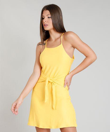Vestido-Feminino-Texturizado-com-No-Amarelo-9343265-Amarelo_1