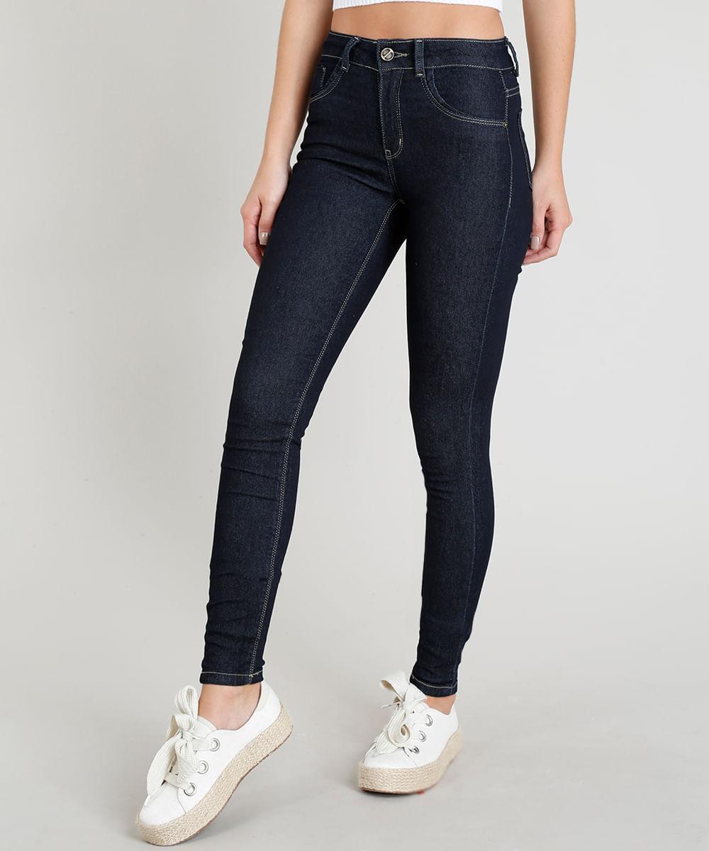 53744b428 Calça Jeans Feminina Sawary Super Skinny Azul Escuro - ceacollections